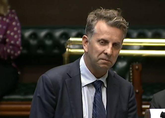 Emotional Bega MP Andrew Constance speaking in state parliament this week about the horrific South Coast bushfires.